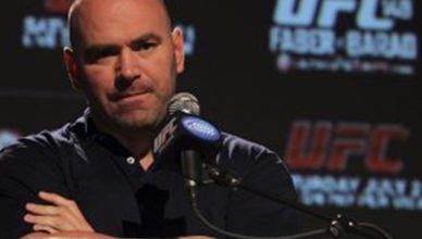 UFC boss Dana White looking very unhappy.