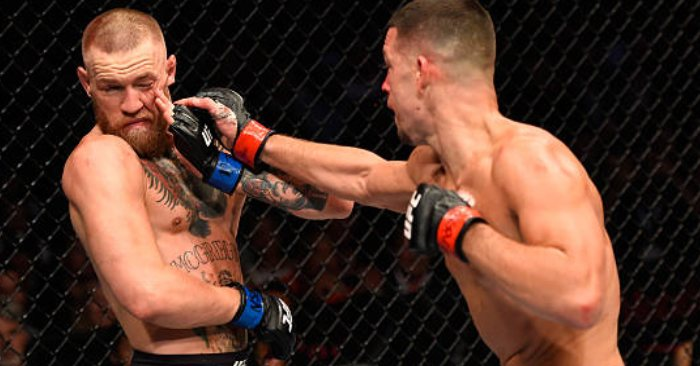 Conor McGregor and Nate Diaz go toe-to-toe in an octagon war