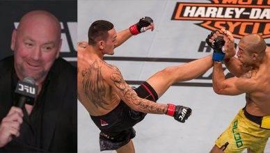 Max Holloway and Jose Aldo at UFC 218.