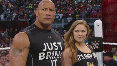 Ronda Rousey in the WWE ring at Wrestlemania.