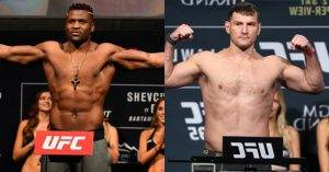 Stipe Miocic and Francis Ngannou at UFC 220.